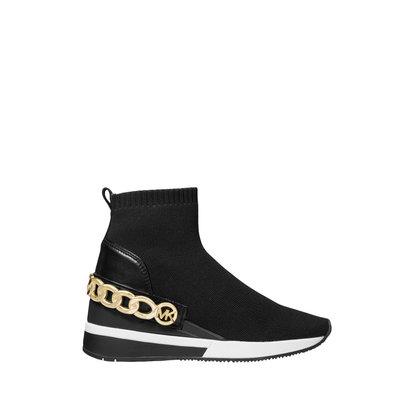 MICHAEL KORS Skyler Chain-Embellished Stretch Knit Sock Sneaker black