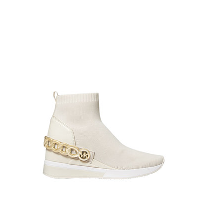 MICHAEL KORS Skyler Chain-Embellished Stretch Knit Sock Sneaker cream