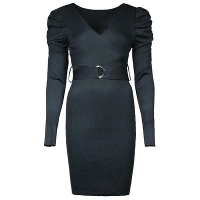 JAIMY Amira puff sleeve knitwear dress black