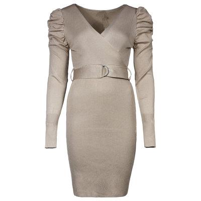JAIMY Amira puff sleeve knitwear dress beige