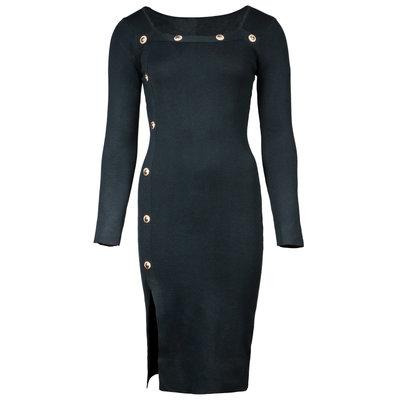 JAIMY Lana gold button dress black