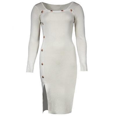 JAIMY Lana gold button dress creme