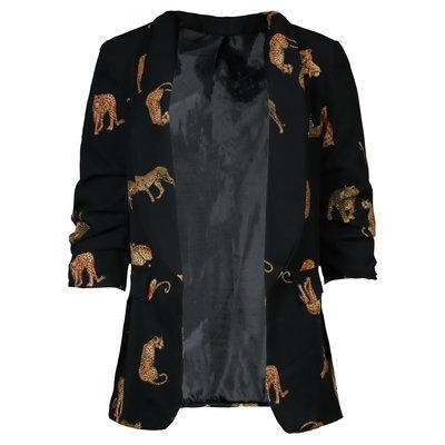 JAIMY Leopard detail blazer black