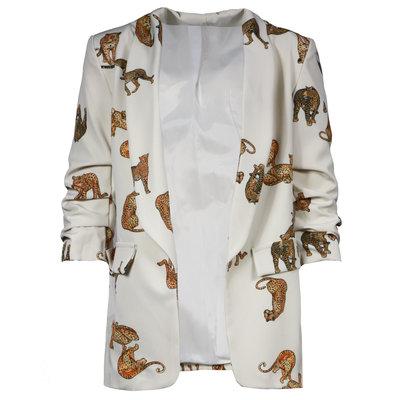 JAIMY Leopard detail blazer creme