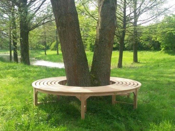 Teak boombank zonder rugleuning 220cm