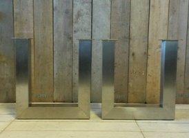Metalen tafel poot U - RVS (per set)