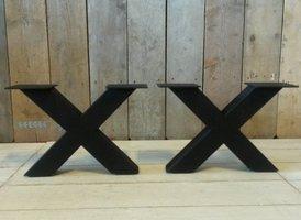 Metalen poot X salontafel - zwart (per set)