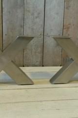Metalen poot X salontafel - RVS (per set)