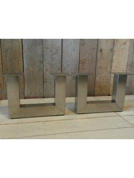Metalen poot U salontafel - RVS (per set)
