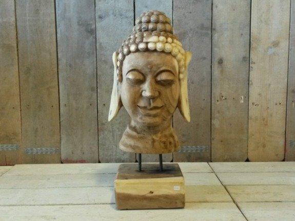 Houten Boeddha gezicht op standaard - rond