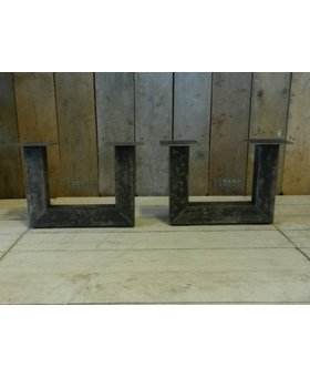 Metalen poot U salontafel - rustiek zwart (per set)