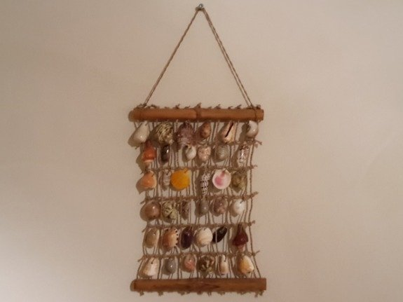 Wandhanger vierkant - diverse kleuren schelpen