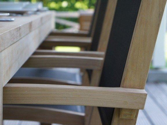Teak tuinstoel Torino Batyline Zwart