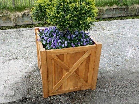 Teak plantenbak vierkant 90x90cm met kruis
