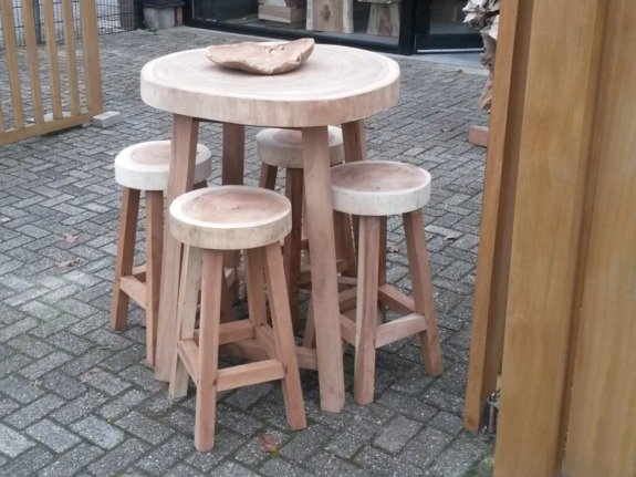 Bartafel boomstamtafel rond - 4 poten