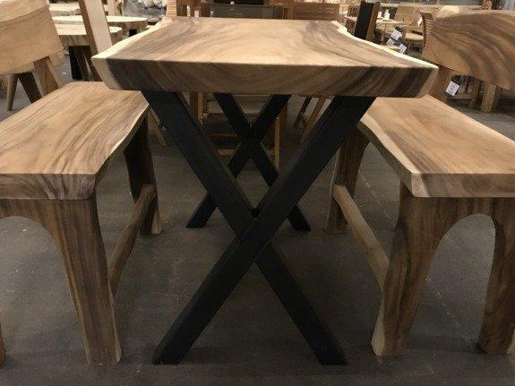 Boomstam bar tafel poot X - rustiek - per set