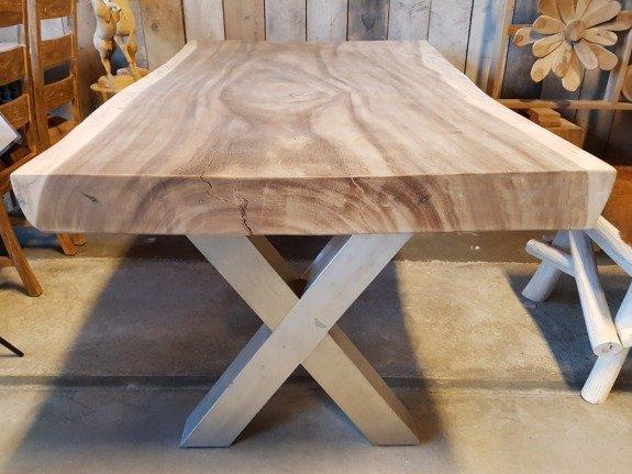 Metalen tafel poot X - RVS (per set)