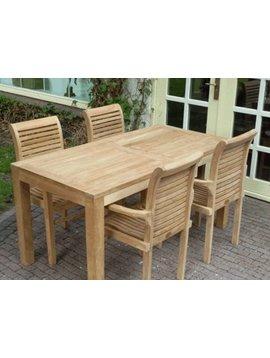Teak tuinstel Verona 80160 + 4 stapelstoelen + kussen