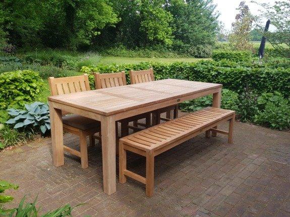 Teak tuinset tafel 215 + tuinbank + 3 stoelen