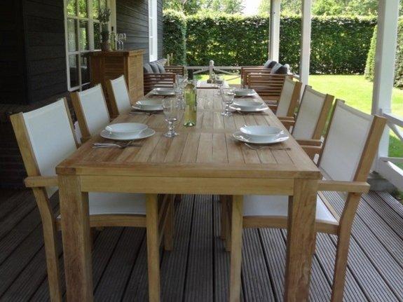 Teak tuintafel 100x250 met 6 batyline tuinstoelen
