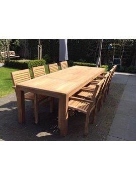 Teak tuinstel Verona 300 + 8 stapelstoelen + kussens