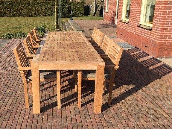 Teak tuinstel Verona 300 + 8 stapelstoelen + kussen
