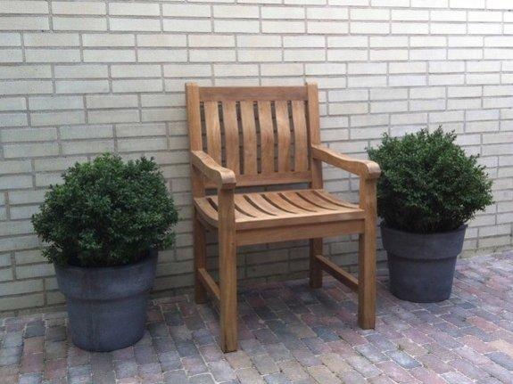 Teak tuinset Verona 250 met 6 blokstoelen en kussens