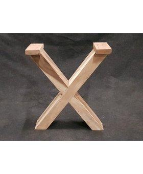 Hard houten tafelpoot X (per set)
