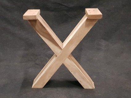 Hardhouten tafelpoot X (per set)
