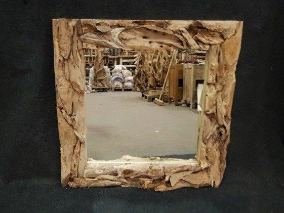Spiegel, rustiek vierkant 100x100cm