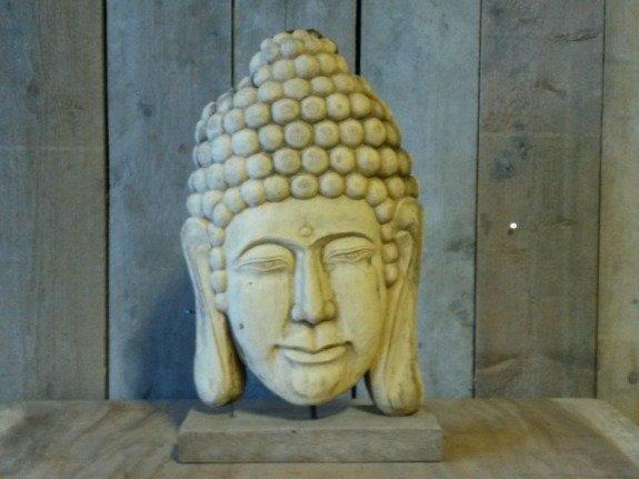 Houten Boeddha op voet - Klein