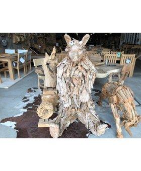 Zittende beer van hout - sculptuur