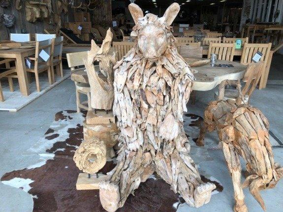 Drijfhout zittende beer - Decoratie