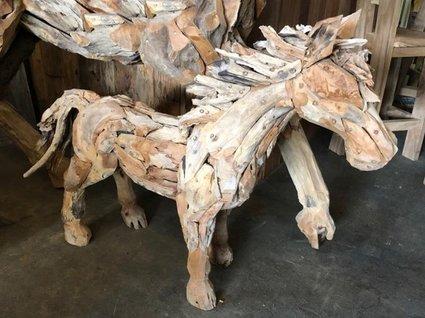 Drijfhout paard klein- sculptuur