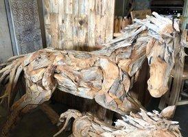 Paard van hout -  middel L200cm