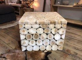 Salontafel vierkant 60cm - teak stammen SL06-1924