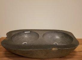 Wasbak natuursteen dubbel  FL19165 - 102x56x17cm