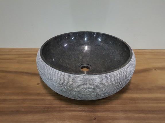 Antraciet marmer waskom Ø46x15cm