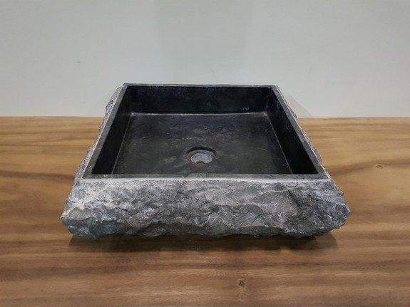 Antraciet marmer wasbak 45x45x15cm