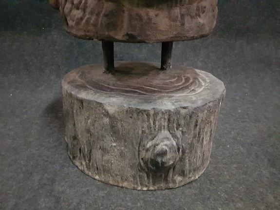 Stenen Boeddha zittend - 60x60x120cm zwart