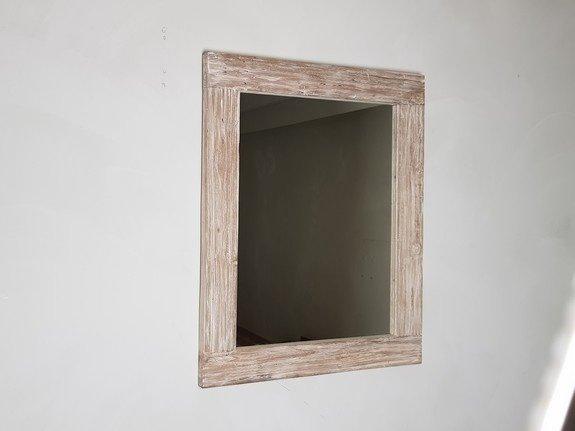 Spiegel 68x85x9cm White Wash - Teak