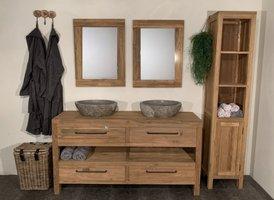 Badmeubelset 160cm Naturel incl kast, spiegels & waskommen