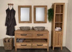 Badmeubel set 140cm Naturel incl kast, spiegels & waskommen