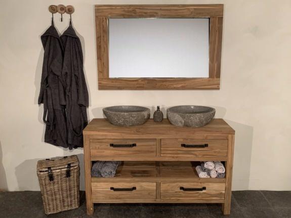 Teak badmeubelset 140cm Naturel incl  spiegel & waskommen