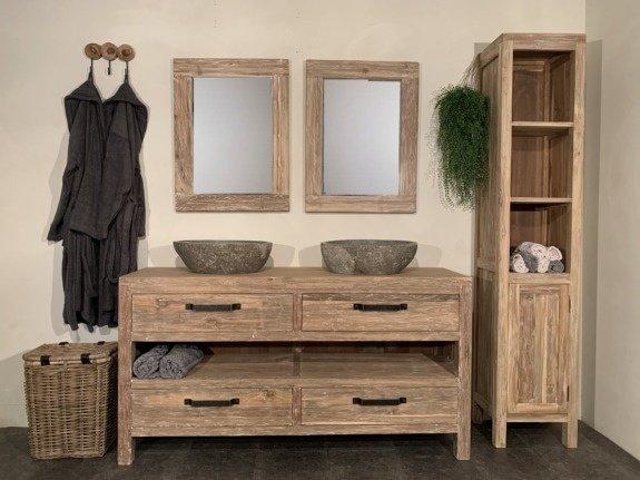 Badmeubelset 160cm incl kast, spiegels & waskommen White Wash