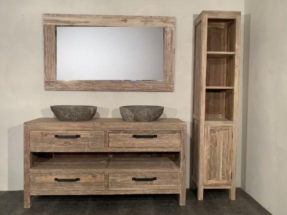 Badmeubelset 160cm incl  kast, spiegel & waskommen White Wash
