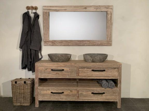 Badmeubelset hout 160cm White Wash incl  spiegel & waskommen