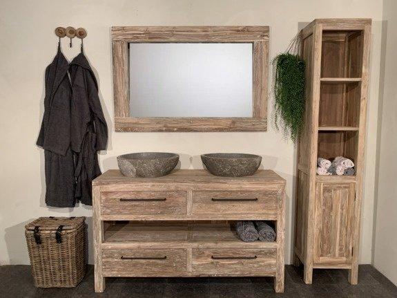Badmeubel set 140cm incl  kast, spiegel & waskommen White Wash