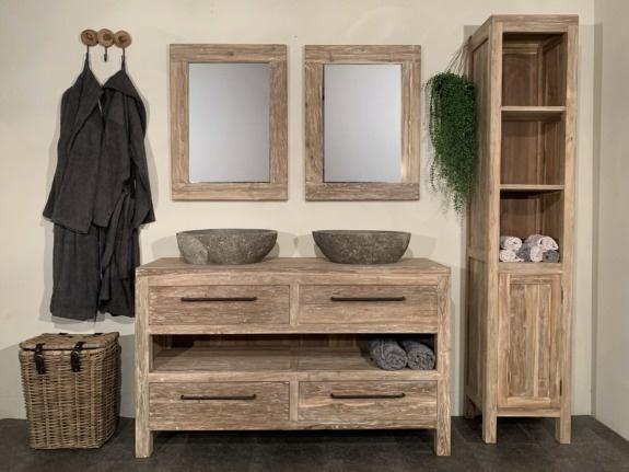 Teak badmeubelset 140cm incl kast, spiegels & waskommen White Wash