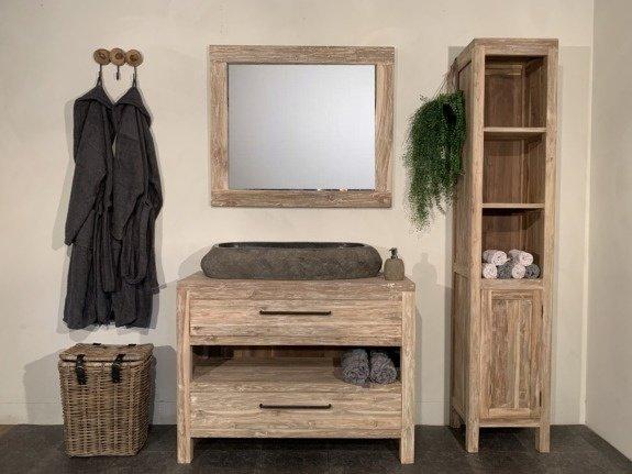 Badmeubelset hout 110cm White Wash incl  kast, spiegel & wasbak ovaal